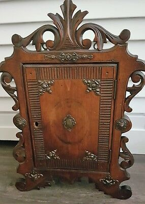 Antique Hand Made Wall Cabinet Oak Wood Cupboard Hanging Cabinet
