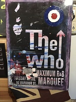 The Who Painting, Acrylic On Canvas/poster, Original One Off ! Signed ! 61x43cm
