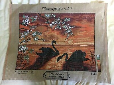 Margot Creations De Paris Printed Tapestry Canvas Black Swans Sunset Background
