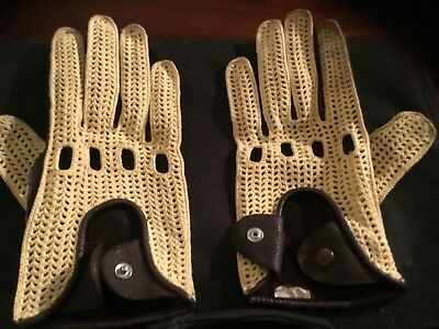 Leather driving gloves with contrasting mesh stitching.chocolate brown v caramal