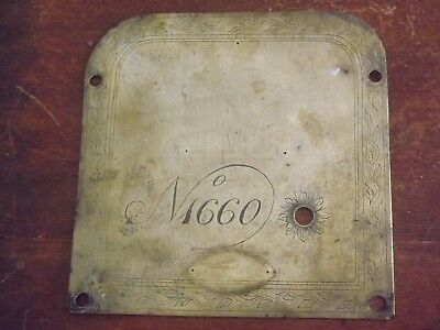 Antique Engraved Brass Clock? Machine? 12In Sq Face Plate For Winding  Hole