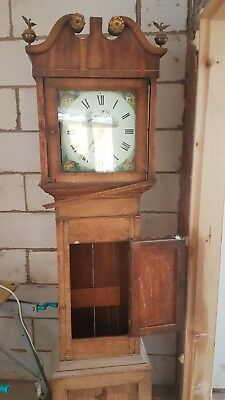 Antique Oak & Mahogany Longcase Grandfather Clock 8 Day. J Smith, Wrexham