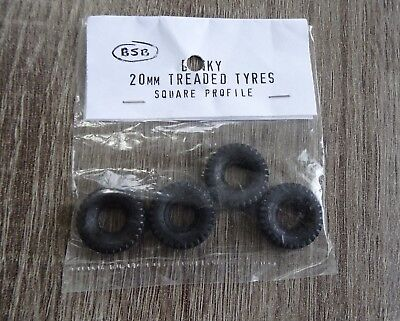 DINKY 20mm Treaded Rubber Tyres square Profile X 4 New/Unused