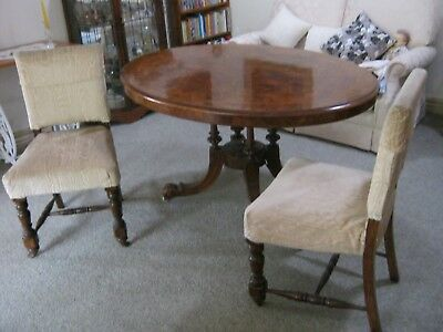 Antique EDWARDIAN Beautiful Oval Inlaid Tilt-Top Dining Table and 6 Chairs.