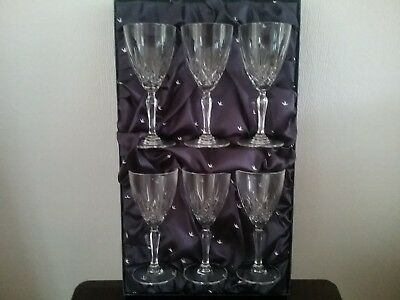 Set Of 6 Cathedral 24% Lead Crystal Boxed  Wine Glasses