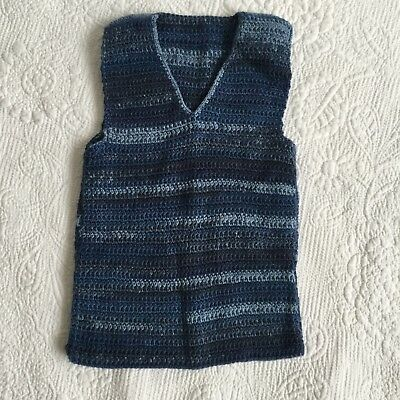 BABY BOYS Size 00 Handmade Knit Blue Speckled Lined Wool Vest