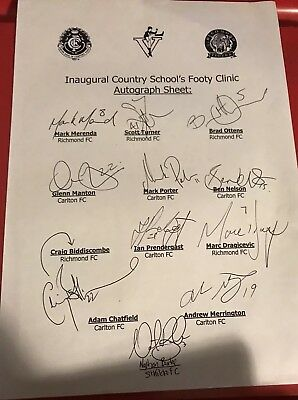 Insugural Country School's Footy Clinic Autograph Sheet (1990s?)