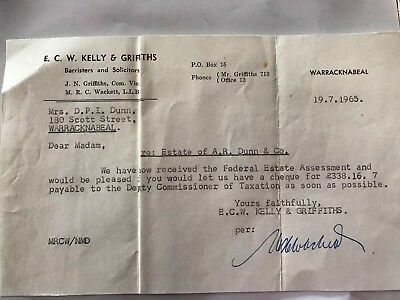 E.C.W. Kelly & Griffiths, Warracknabel Letter To Client 1965 re Probate(?)