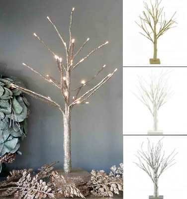 LED Glitter Twig Tree Pre Lit Christmas Tree Decoration 60cm Battery Timer