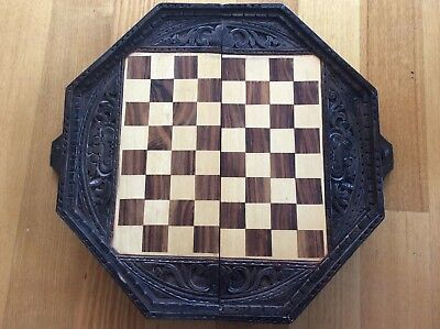 Balinese/asian Carved Wooden Timber Chessboard-Vintage Beach Shack Tiki Mancave