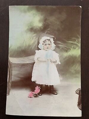 Old Postcard Photo Of A Young Girl With Added Colour