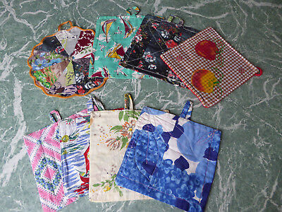 Vintage Cloth Pot holders x 8