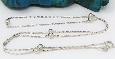 Vintage Italian, Signed Vior, Solid Sterling Silver Ball Accented Chain Necklace
