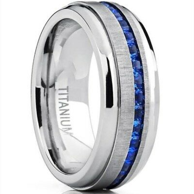 8MM Blue AAA Cz Band Men's Titanium Steel Silver Brushed Engagement Ring Sz 8-15