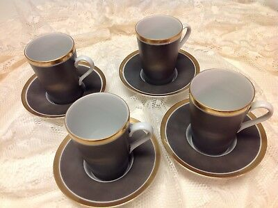 VTG Fitz & Floyd Demitasse Set of 4 Cups and Saucers Taupe/White with Gold Trim