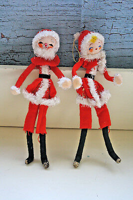 Vintage Felt Posable Santa Claus Mrs Claus Doll Ornaments Japan