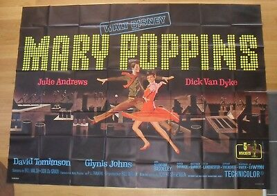 "MARY POPPINS julie andrews original french movie poster 126""x94"" 4P '64"