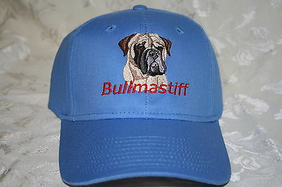 Bullmastiff Dog Embroidered On a Blue Structured Hat
