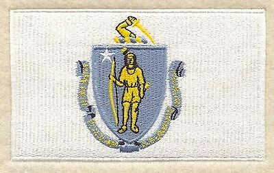 "Massachusetts State Flag Embroidered Patch 3.3"" x 2"""