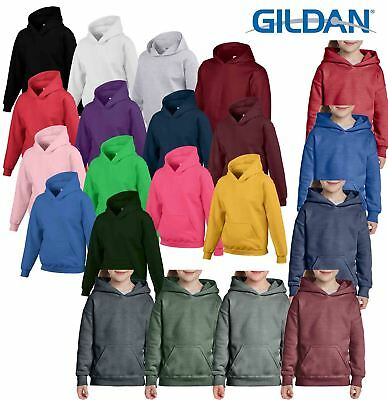 Gildan Children's Kids Hooded Sweatshirt Jumper Plain Pullover Sweater Hoodie