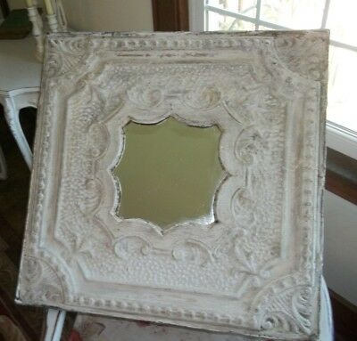 "Antique Ceiling Tin Mirror Ornate Distressed Shabby Chic Farmhouse 24"" X 24"""