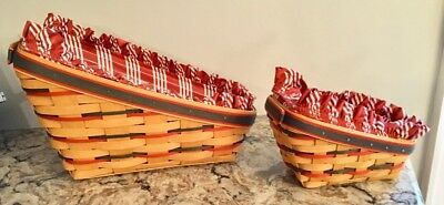 Set of 2 - 1998 Longaberger Christmas Dash Away Sleigh Baskets. Excell condition