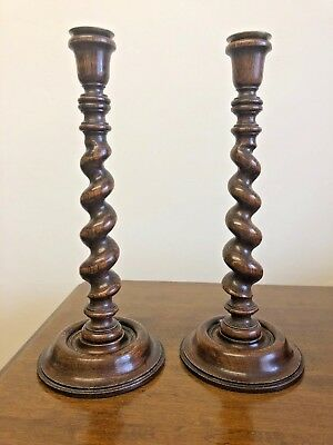 Matching Pair Antique Twisted Wooden Candle Stick Holders - 35cm