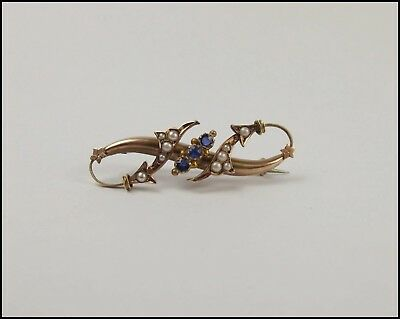 Late Victorian Yellow Gold Pearl & Glass Brooch c1900