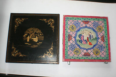 Antique Chinese Wooden Lacquer Gilt Painted with Cardboard Painting Storage Box