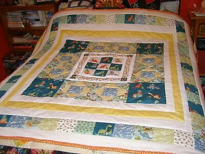 Handmade Quilted Dinosaur Theme Large Size For Single Bed