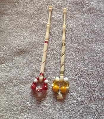 Pair Of Bone Lace Bobbin With Wire Wrap