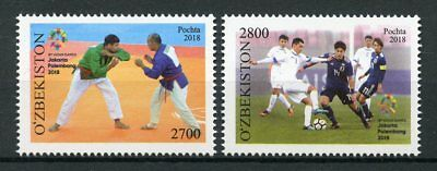 Uzbekistan 2018 MNH Asian Games Indonesia 2v Set Judo Football Sports Stamps