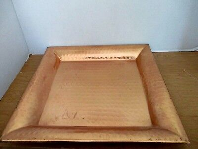 "VINTAGE Antique SQUARE HAMMERED COPPER 13.5"" SERVING TRAY"