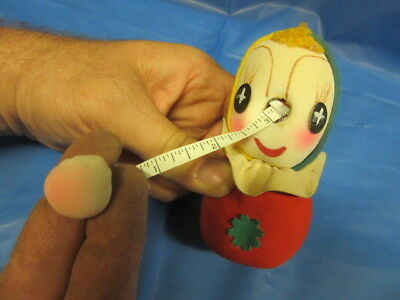 """MINT Vintage Sewing Figural Pin Cushion Hidden Tape Measure Nose JAPAN 4.5"""" NEAT"""