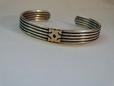 vintage bracelet sterling silver and 14ct gold weighs about 31 grams jewel !