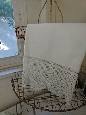 Antique Large Linen White Kitchen Bath Hand Towel Runner Wide Crocheted Trim