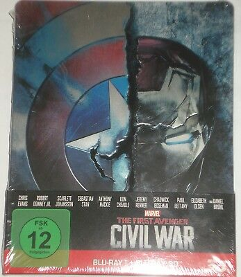 Marvel's The First Avenger Civil War Blu Ray 3D 2D  Steelbook 2 Disc Edition