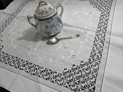 Antique Vintage  Linen Tenerife Drawnwork Lace Embroidery  Table Cloth Topper