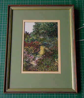 EMBROIDERY by J M Taylor, 1989, Superb tranquil garden scene, signed, in frame