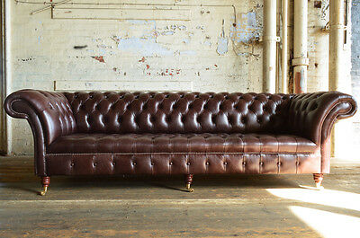 Handmade Chesterfield Sofa Couch Chair 4 Seater Vintage Antique Brown Leather