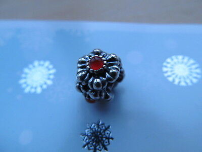 Genuine Pandora July Blooms Sterling Silver Carnelian July