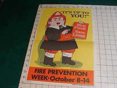 Original 1970's or 80's Fire Prevention Week Poster: art by Stamaty 11 x 17