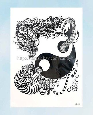 Us Seller Boho Spirit Tiger Dragon Yin Yang Large 8 25 Half Sleeve