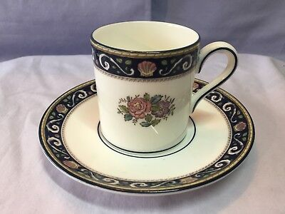 WEDGWOOD England Runnymede Pattern DEMITASSE CUP & SAUCER Enameled Bone China