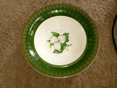 American Limoges 22k serving Bowl forest green