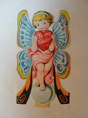 Vintage German 3-D Diecut Stand Up Valentine**fairy W/ Heart**circa Early 1900's