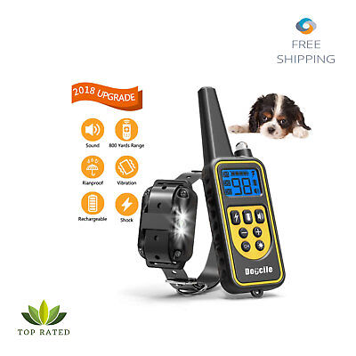 Shock Collar Dog Waterproof Rechargeable Remote Vibration LED Light 800 Yards