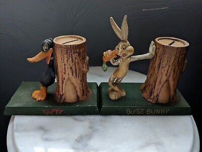 Vintage Bugs Bunny & Daffy Duck Moss Metal Coin Bank Rare HTF 1940s Toy