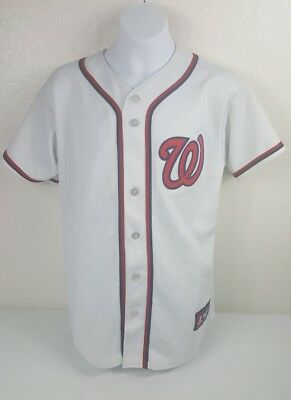 MLB Majestic Washington Nationals Jersey Sewn Button Down Baseball Youth  Boys L 57f09af60