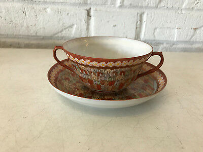 Antique Japanese Satsuma Signed Porcelain 1000 Faces Tea Bowl Cup & Saucer